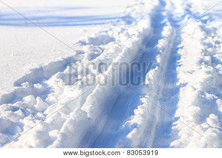Ski Track Close Up Image