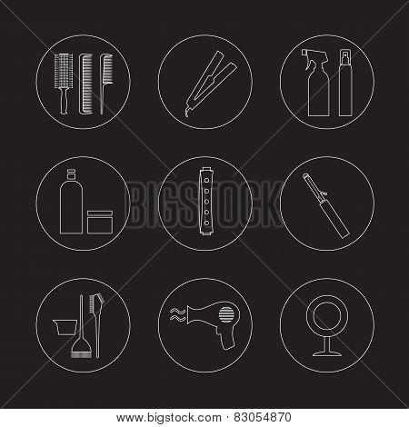 Line Design Hairdressing Icons Set.