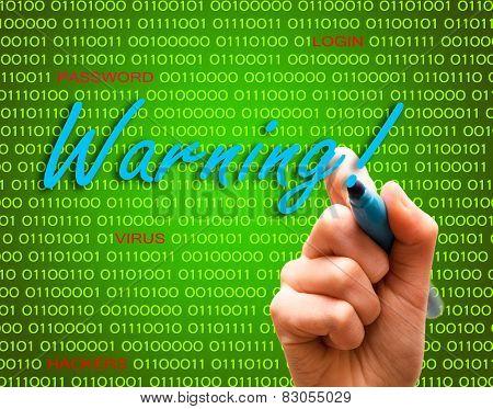 Warning Password Login Virus Hackers Hand Binary Text
