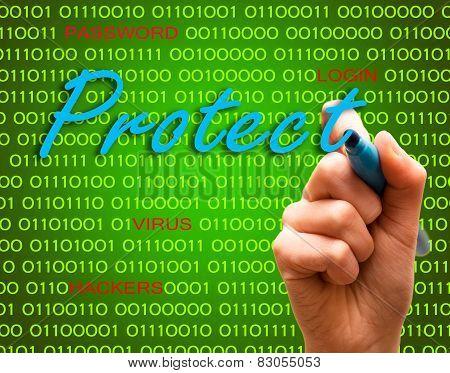Protect Password Login Virus Hackers Hand Binary Text