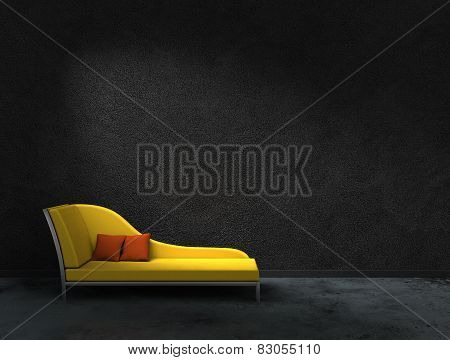 yellow sofa and black wall