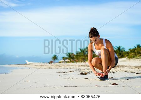 Sporty Woman Ready For Running At Tropical Beach