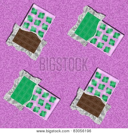 Mint and cocoa chocolate bar in opened packages with mint leaves