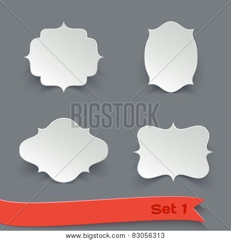 Vector Set of Blank White Paper Retro Labels.