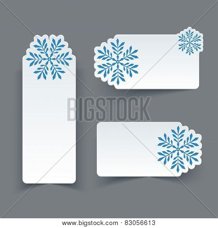Vector Set of Blank White Paper Retro Labels with Snowflakes.