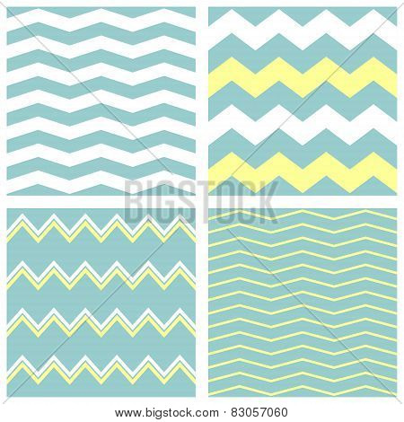 Tile vector pattern set with white, green and yellow zig zag print background
