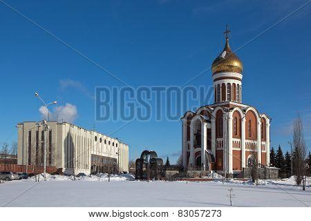 Temple of Dmitry Donskoy and central entrance Uralvagonzavod. Nizhny Tagil. Sverdlovsk region.