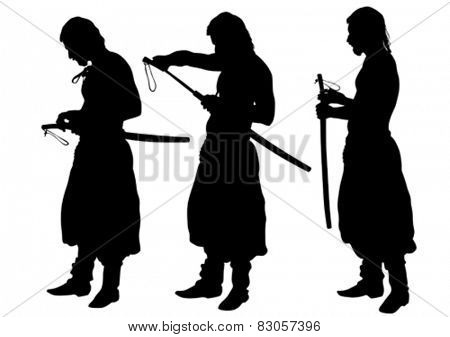 Silhouette of a Cossack with a saber on a white background