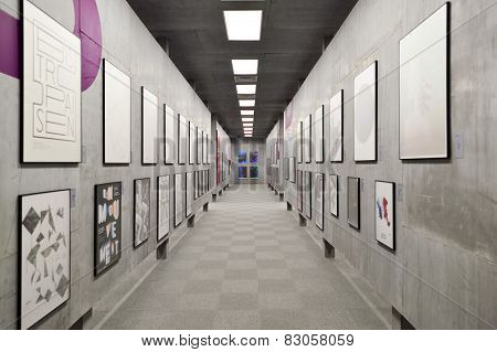 HONG KONG - FEBRUARY 04, 2015: art exhibition in Hong Kong Heritage Museum. Hong Kong Heritage Museum is a museum of history, art and culture in Sha Tin, Hong Kong, located beside the Shing Mun River.