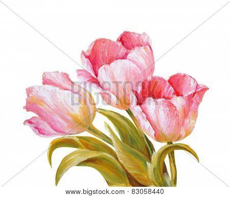 Tulips isolated on white, oil painting
