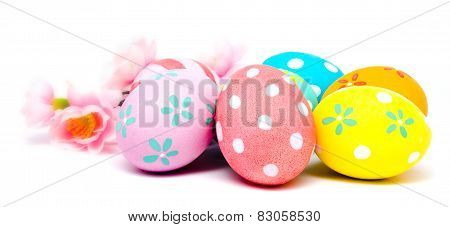 Colorful Handmade Easter Eggs With Flower Isolated
