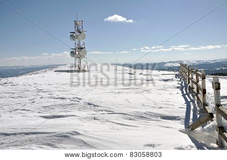 Weather Station At Winter In The Mountains