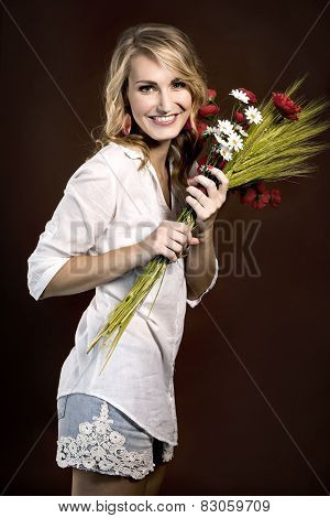 Happy Beautiful Girl With Plastic Red Poppies And Corn Cobs