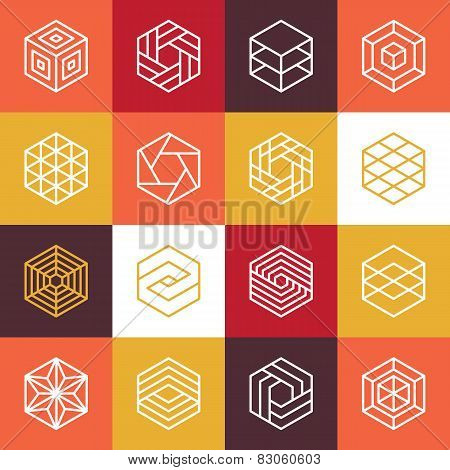 Vector Linear Hexagon Logos And Design Elements