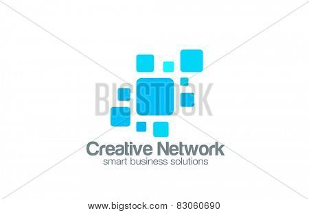 Social Network Logo abstract design vector template. Square interface Logotype concept icon