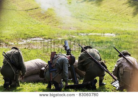 Wroclaw, Poland -september 20: Battle Of Monte Casino  During Historical Reenactment Of Wwii, Septem