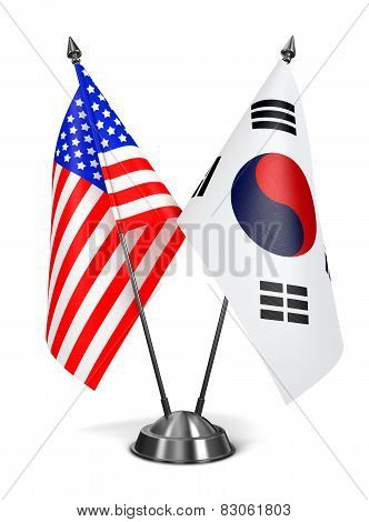 USA and South Korea - Miniature Flags.
