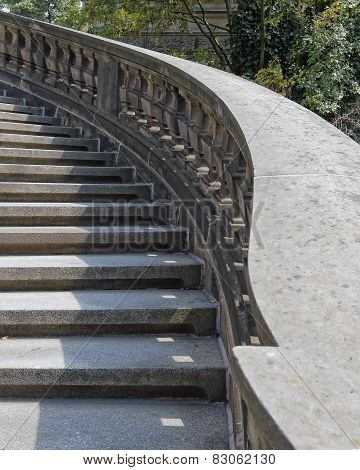 vintage curved outdoor stairs, Dresden Germany
