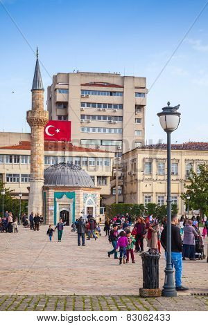Izmir, Turkey. Konak Square With Walking Tourists