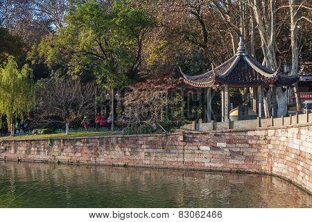 Chinese Gazebo On The Coast In Famous West Lake