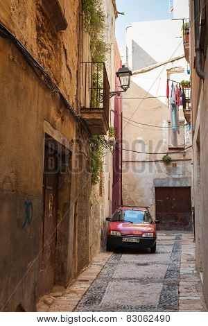 Citroen Car Parked On The Narrow Street In Tarragona