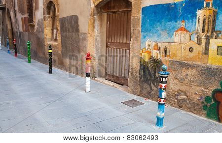 Street View With Graffiti, Tarragona, Spain