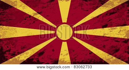 Macedonian flag. Grunge background. Vector illustration