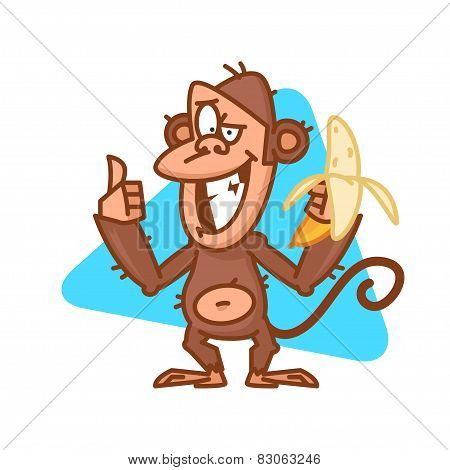 Monkey holds banana and showing thumbs up