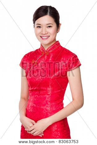 Chinese woman with cheongsam for lunar new year