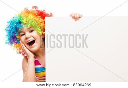 Girl In Clown Is Holding Blank Banner