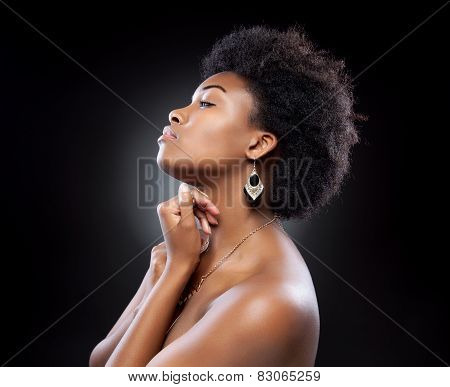 Black Beautiful Woman With Afro Hairstyle