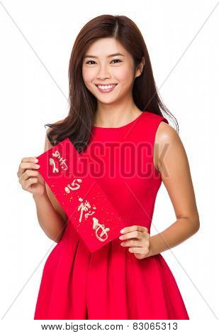 Woman with Fai Chun for Chinese new year, phrase meaning is everything going smoothly and easily