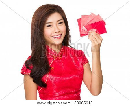 Asian woman with lucky money for lunar new year