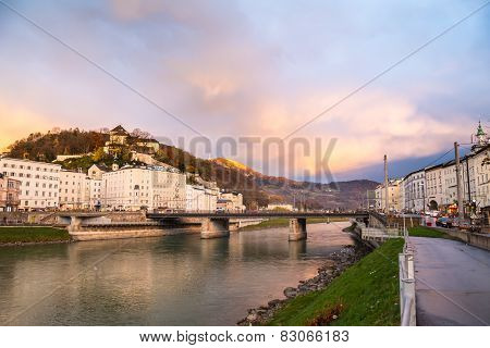 Salzburg With Salzach River