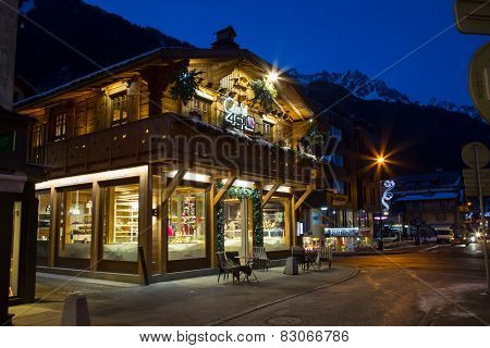 Cafe, Restaurant in the center of the town, Chamonix, France