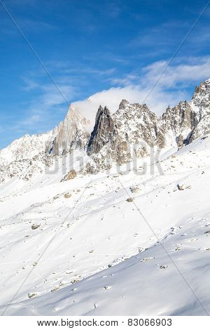 The mountain view from the station of Aiguille du Midi in Chamonix