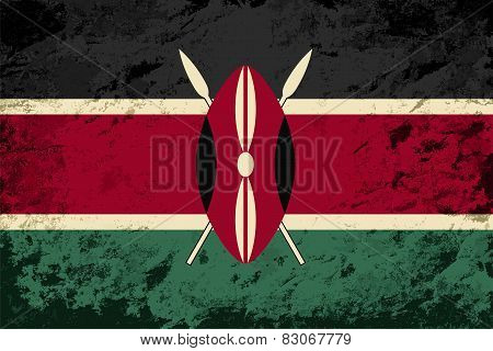 Kenyan flag. Grunge background. Vector illustration