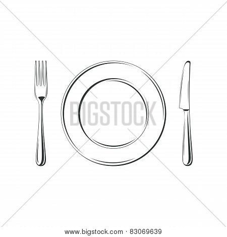 Knife, fork and plate, isolated on white background.