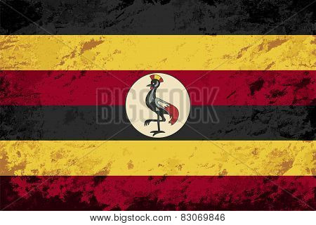 Ugandan flag. Grunge background. Vector illustration