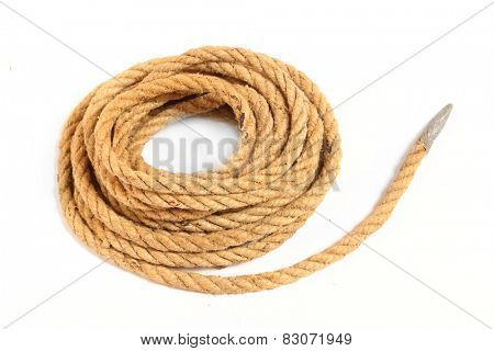 Ball of hemp rope isolated on white background.