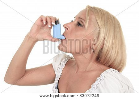 A asthma woman in front of a white background