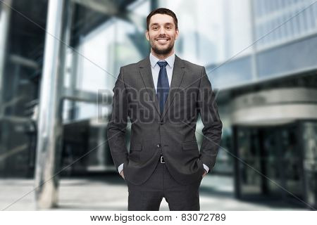 business and office concept - handsome buisnessman