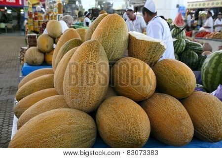 Ashgabad, Turkmenistan - October 15, 2014. Fragrant Sweet Melons On Closed Market In Ashgabad, Turkm