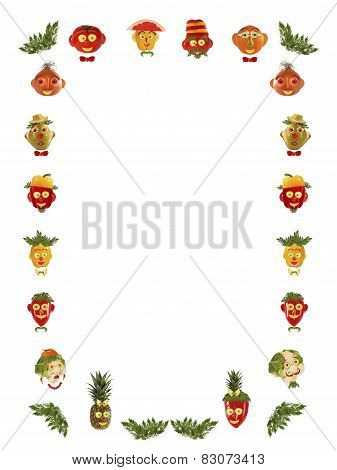 Different Faces,  Made Of Vegetables And Fruits - Frame.