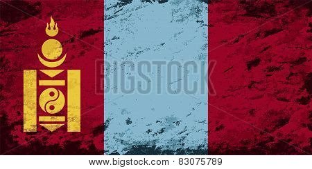 Mongolian flag. Grunge background. Vector illustration