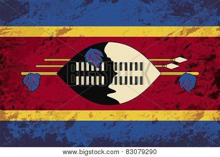 Swaziland flag. Grunge background. Vector illustration