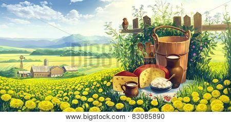 Landscape with dandelion and milk still life set.