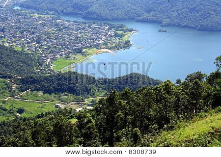 Looking down on Phewa Lake and Pokhara Valley