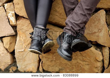 Two Couple Of Legs With Shoes In Love