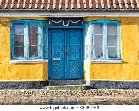 Antique Door In Medieval City Of Ribe, Denmark